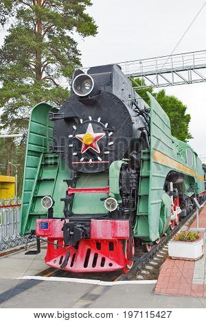 Novosibirsk Museum of railway equipment in Novosibirsk Siberia Russia - July 7 2017: the Locomotive of a passenger long-distance series P36. Built in 1955 Kolomna machine-building plant