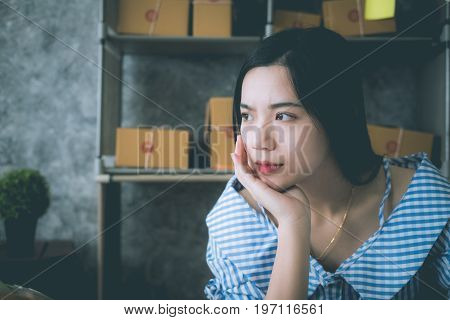 asian woman sitting alone in the house concept of lonely sad alone person space alone and scared