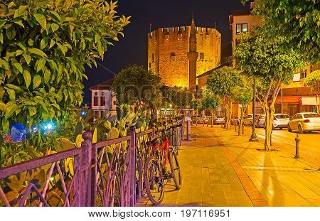 The Red Tower Of Alanya In The Evening