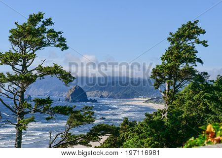 Cannon Beach viewed from Highway 101 on the Oregon Coast
