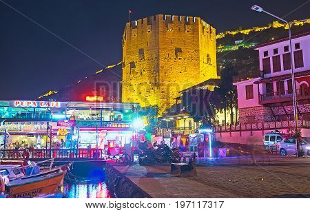 The Night View Of The Red Tower In Alanya
