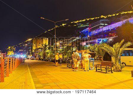 The Night Promenade In Alanya