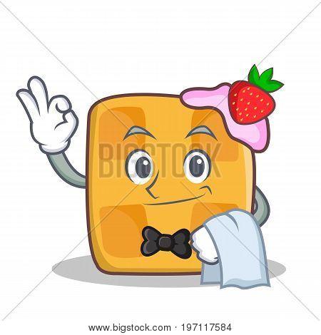 Waiter waffle character cartoon design vector illustration