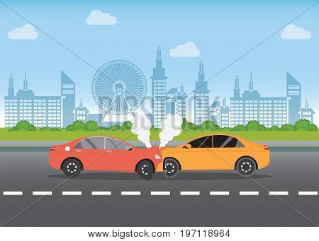 Car crash on the road car accident with Red and yellow cars are broken in the city landscape road accident conceptual vector illustration.