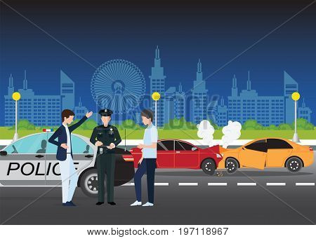 Car crash or Auto accident involving two cars on a city street night scene background traffic policeman in car accident scene and two drivers arguing after traffic collision flat design vector illustration.