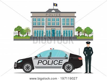Police station with police officer and police car isolated on white background vector illustration.