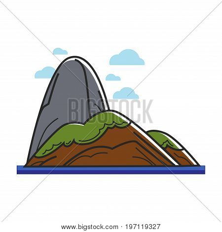 Vecto illustration of green island with big hill isolated on white.
