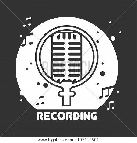 Recording studio monochrome emblem with retro microphone, notes around and sign underneath isolated cartoon vector illustration on black background. Music production company promotional logotype.