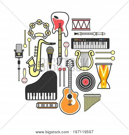 Musical instruments formed in circle isolated vector illustration on white background. Electric and acoustic guitars, melodic keyboards, golden saxophone, authentic percussion and modern microphones.