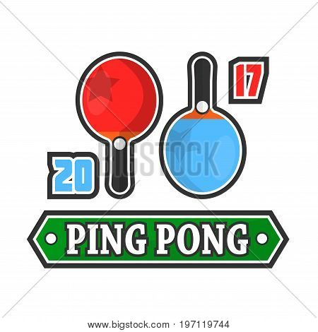 Vector emblem of ping pong game with two rackets and score.