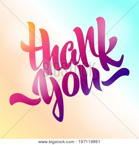 Thank you lettering. Hand written Thank you poster. Modern hand lettering on a colored background