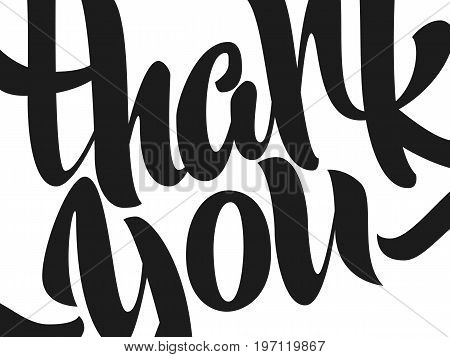 Thank you lettering. Hand written Thank you poster. Modern hand lettering.