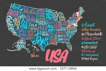 Silhouette of the map of USA with hand-written names of states - Texas California Iowa Hawaii New York etc. Handwritten lettering on the background of USA map. Unique vector typography poster