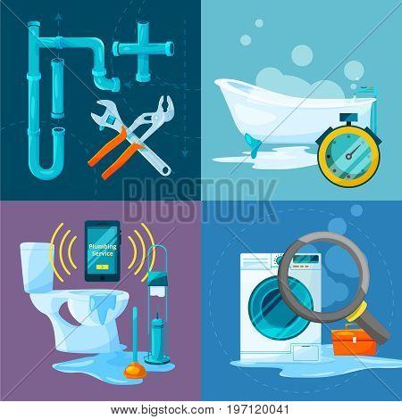 Conceptual pictures set of plumbing works. Bathroom and kitchen pipes and other specific acessories. Bathroom and plumbing service, plumbing tools and fix illustration