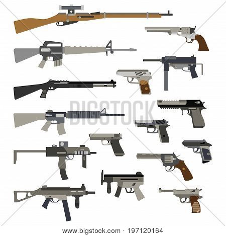 Different automatic weapons. Vector of guns and pistols. Military rifle and revolver, machine gun illustration