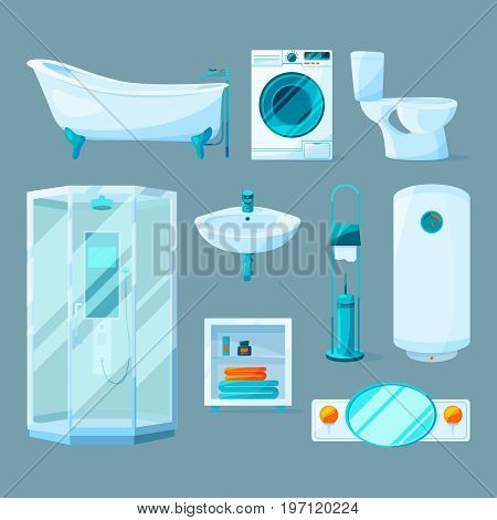 Bathroom interior furniture and different equipment. Vector illustrations in cartoon style. Furniture bathroom boiler and mirror for interior