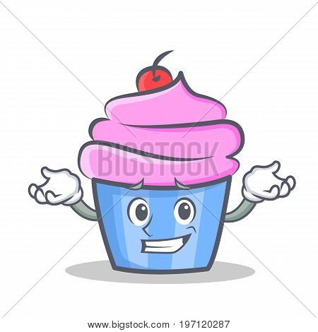 Confused cupcake character cartoon style vector illustration