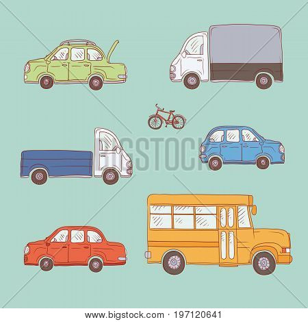 Vector coloured set of sketch illustration vintage trucks and cars. Yellow school bus, commercial vehicles and private automobiles. Painted freehand doodle isolated drawing