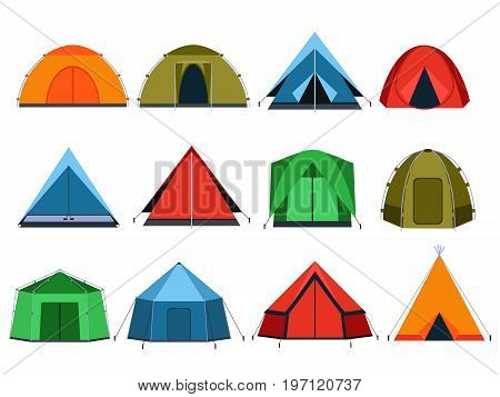 Different tourists tents for camping. Vector pictures in flat style. Tent for travel and journey, shelter tent for adventure illustration