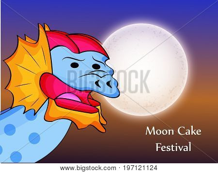 illustration of dragon and moon with Moon Cake Festival text on the occasion of Mid Autumn Festival