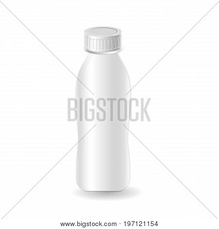 Plastic template milk bottle yogurt. Blank packaging isolated on white background. Package template. Realistic 3d mock-up