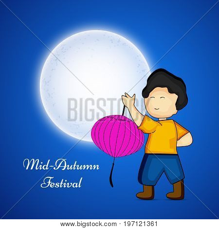 illustration of a boy holding lantern and moon with Mid Autumn Festival text on the occasion of Mid Autumn Festival