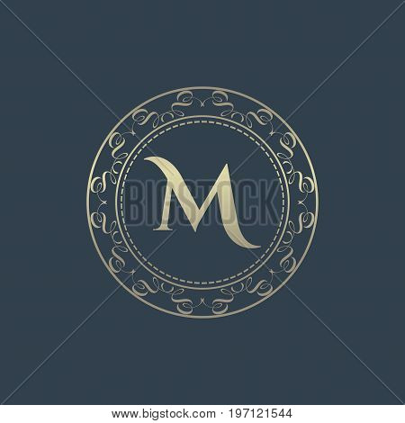 Luxury logo. Calligraphic pattern elegant decor elements. Vintage vector ornament Signs and Symbols. The Letters M. luxury logo template. EPS8,EPS10
