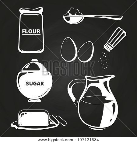 Baking ingredients collection on chalkboard. Collection of ingredients for cook, vector illustration