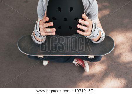 Professional skater crash. Failure demotivation on training. Bad day for looser