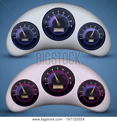Two isolated speedometer interface icon set with three dials on the cars speedometers vector illustration