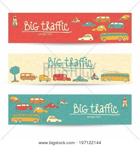 Transportation horizontal doodle banners with different types of vehicles on the car sillhouette backgrounds Vector Illustration