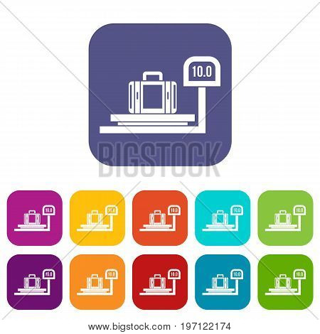 Luggage weighing icons set vector illustration in flat style in colors red, blue, green, and other