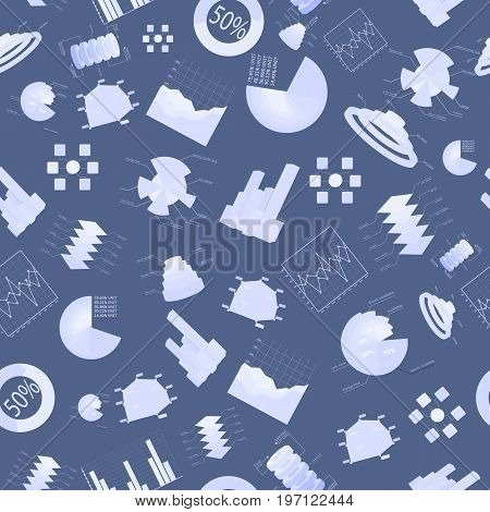 Business charts seamless pattern with icon set light blue and isolated elements vector illustration