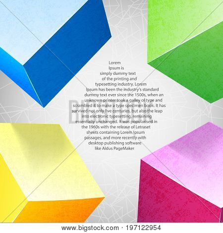 Abstract background colored composition with realistic colored squares in the corners and space for text vector illustration