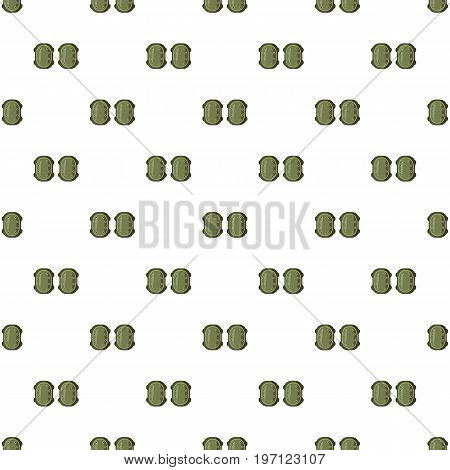 Military knee pads pattern seamless repeat in cartoon style vector illustration