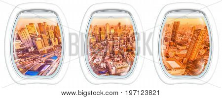 Three porthole frame windows on Osaka City Central Business downtown at sunset. Osaka Skyline from Kita ward of Japan. Umeda district aerial view.