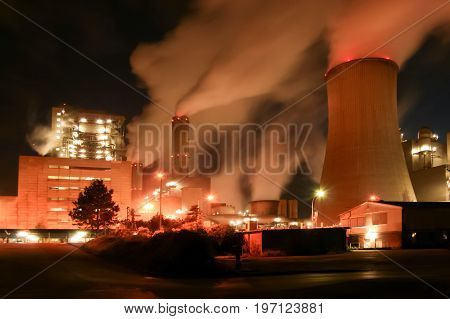 the coal power plant near Grevenbroich at night in long-time exposure