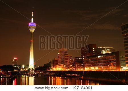 The media harbor in Dusseldorf at night