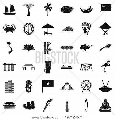 Asian culture icons set. Simple style of 36 asian culture vector icons for web isolated on white background