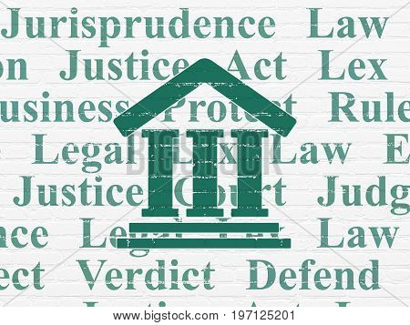 Law concept: Painted green Courthouse icon on White Brick wall background with  Tag Cloud