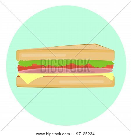 Flat vector tasty sandwich with bacon tomati cheese and salad icon. Tasty cartoon colorful fastfood symbol for cafe bar restaurant menu design.