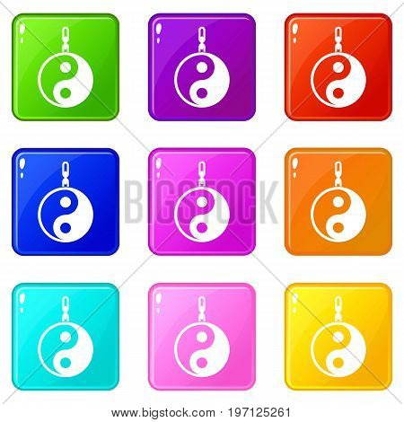 Sign yin yang icons of 9 color set isolated vector illustration