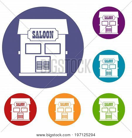 Western saloon icons set in flat circle red, blue and green color for web