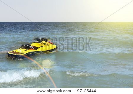 Yellow Jet ski on the beach, mock up