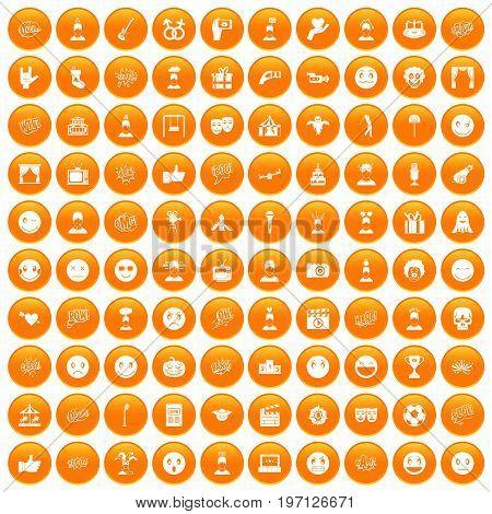 100 emotion icons set in orange circle isolated on white vector illustration