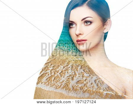 Double exposure photo of beautiful woman with long hair. Girl with perfect makeup and hairstyle. Model brunette with perfect healthy dark hair