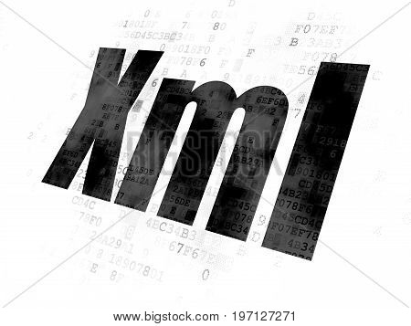 Software concept: Pixelated black text Xml on Digital background