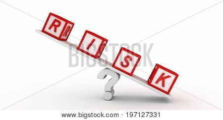 Red risk cubes balancing on question mark