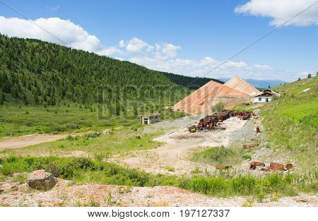 Destroyed building mines in the Altai Mountains. Republic of Altai, Siberia, Russia.