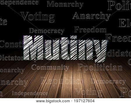 Politics concept: Glowing text Mutiny in grunge dark room with Wooden Floor, black background with  Tag Cloud